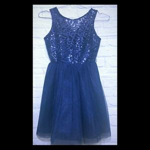 Navy Blue Sleeveless Dress Sequins & Tulle Size 8